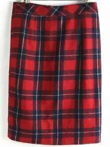 Plaid Split Pencil Skirt