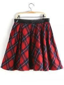 Plaid Contrast PU Flare Skirt