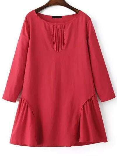 Robe plissee evasee rouge french romwe for Robe rouge évasée