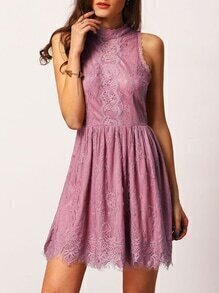 Pink Mock Neck Sleeveless Lace Embroidered Dress
