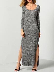 Grey Long Sleeve Split Maxi Dress