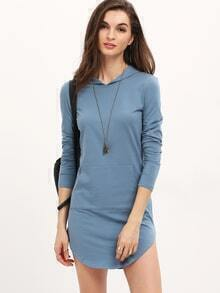 Blue Hooded Long Sleeve Pockets Dress