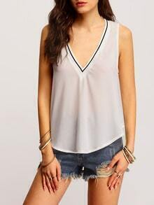 White Sleeveless V Neck Tank Top
