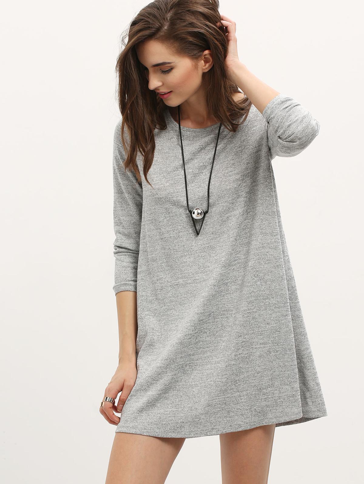 灰色 長袖 日常 洋裝