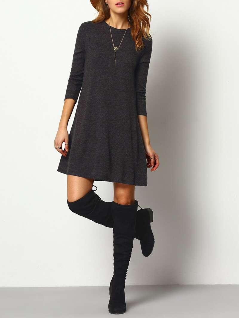 Marled Knit Swing Dress, Grey