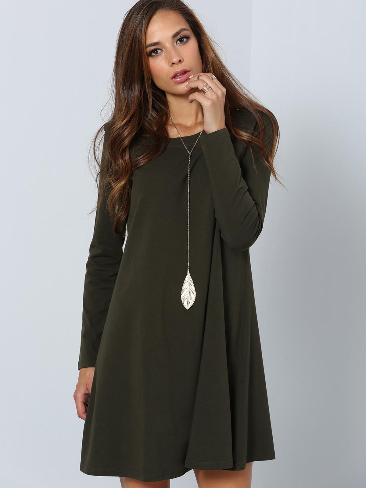深綠長袖 設計師 日常 洋裝