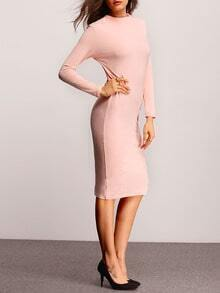 Pink Long Sleeve Sheath Dress