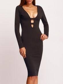 Black Deep V Neck Cut Out Sheath Dress