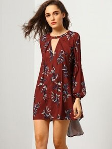 Wine Red Oxblood Baggy Long Sleeve Floral Flowery Dress