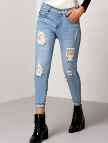 Blue Slim Ripped Denim Pants