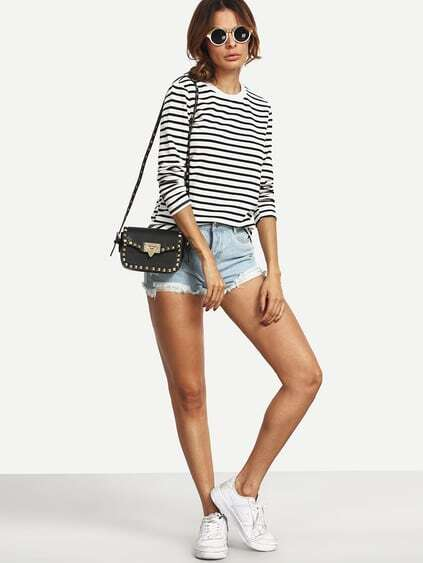 White Black Long Sleeve Striped T-Shirt