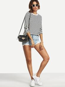 T-Shirt Langarm mit Streifen-weiß und schwarz