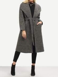 Grey Lapel Pockets Coat