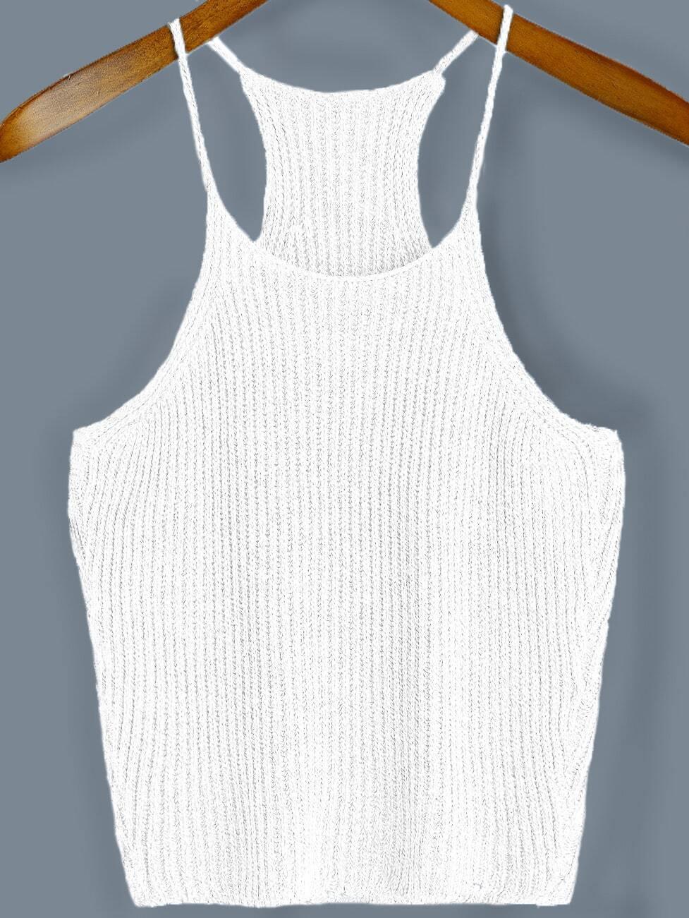 White Spaghetti Strap Sweater Cami Top