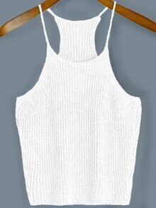 White Spaghetti Strap Sweater Cami Top