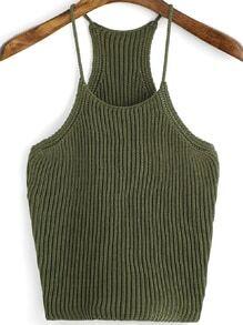 Top à bretelle tricoté -vert kaki