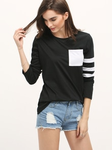 Black White Round Neck Striped Loose T-Shirt