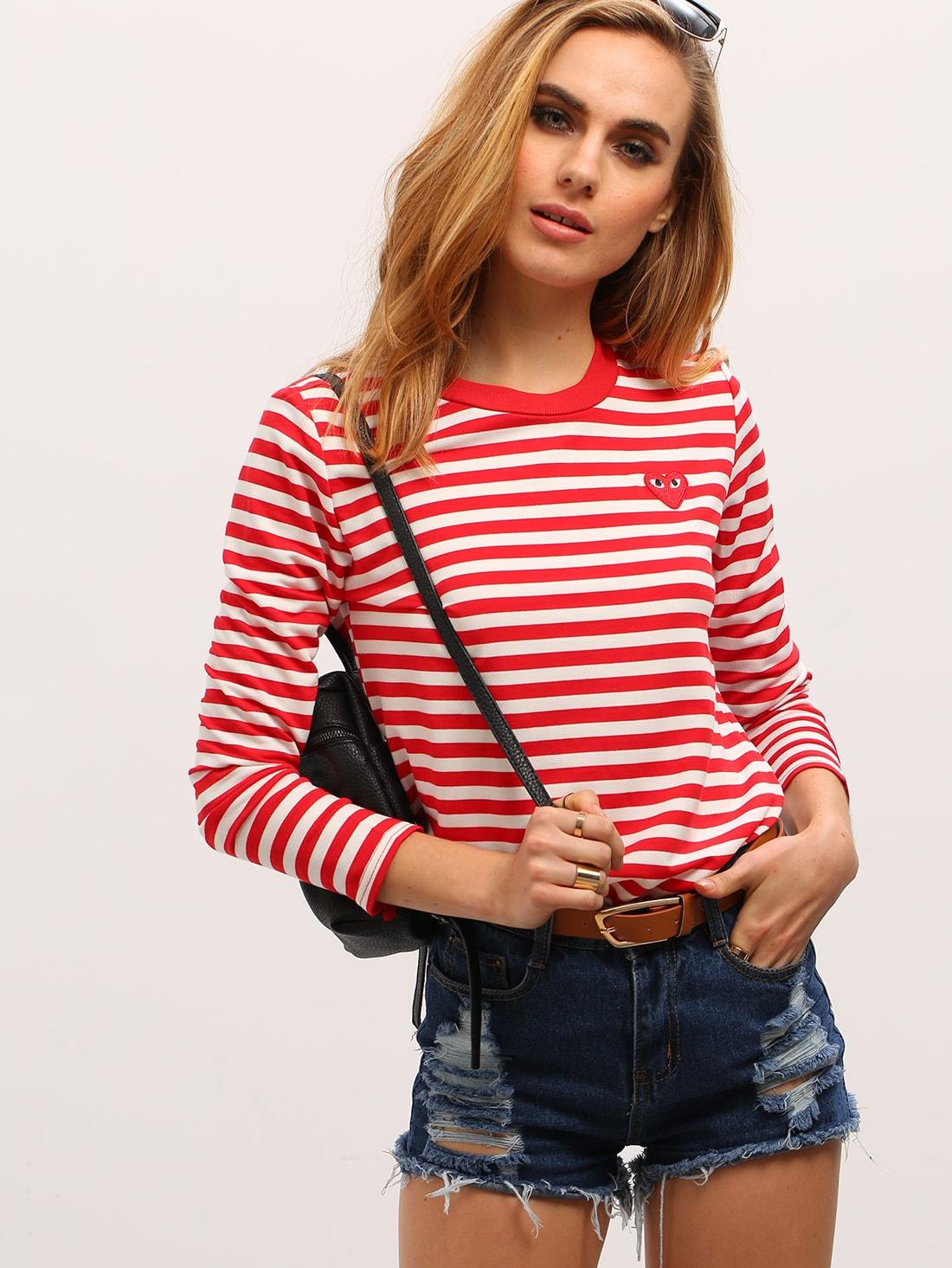 Red White Long Sleeve Striped T Shirtfor Women Romwe