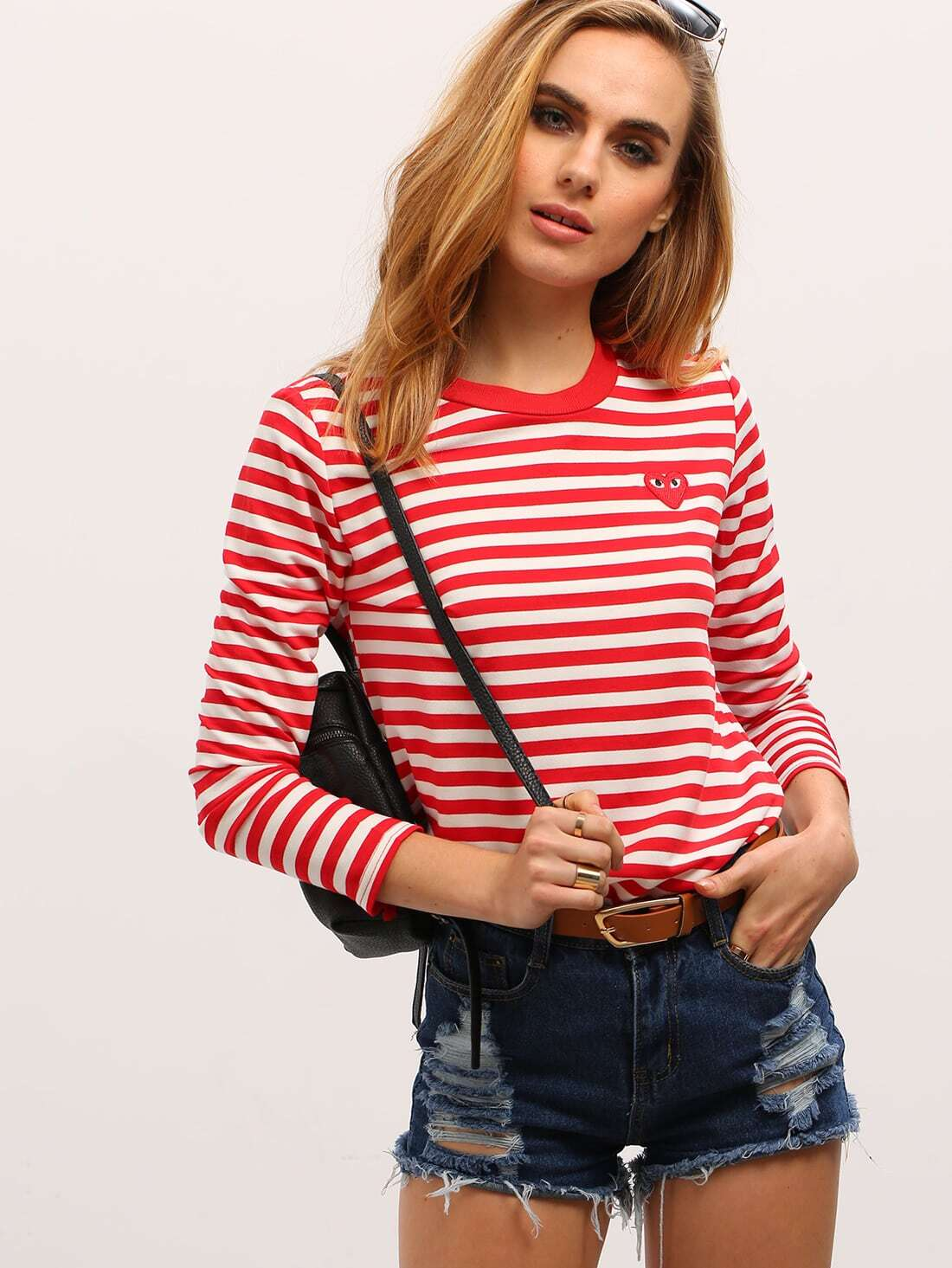 Red White Long Sleeve Striped T Shirt