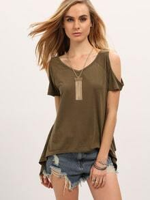 Green Open Shoulder Asymmetrical Hem T-Shirt