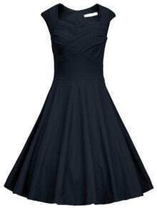 Navy Frocks Heart Shape Collar Raw Sleeveless Flare Dress