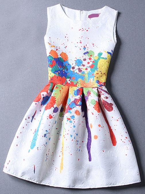 Colour Sleeveless Graffiti Print Jacquard Dressfor Women Romwe