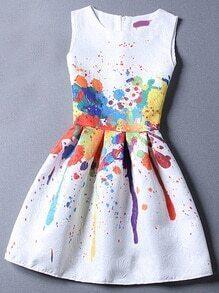 Robe en jacquard imprimé sans manches -multicolore