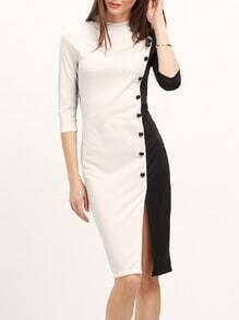Colour-block Buttons Slim Split Dress