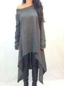 Grey One-Shoulder Asymmetrical Casual Dress