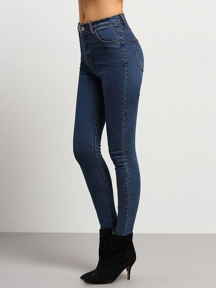 Blue Skinny Pockets Denim Pant