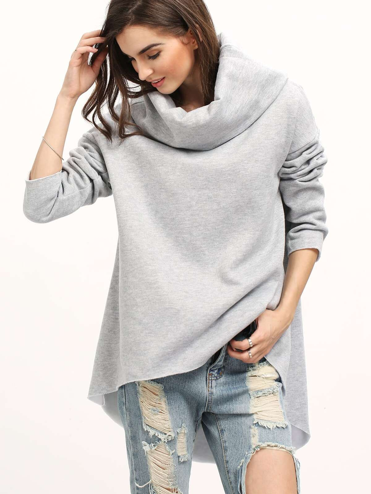 灰色 披帽式領口 長袖 寬鬆 T恤衫