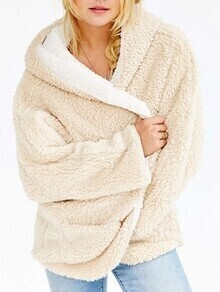 Apricot Hooded Loose Faux Fur Coat