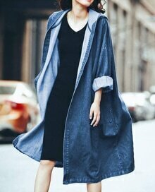 Blue Hooded Loose Denim Trench Coat