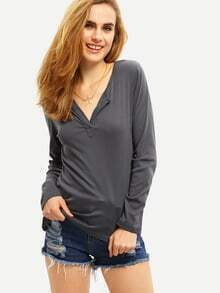 Women Grey V Neck Casual Sweater