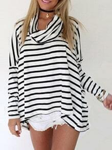 White Black Turtleneck Striped Sweater