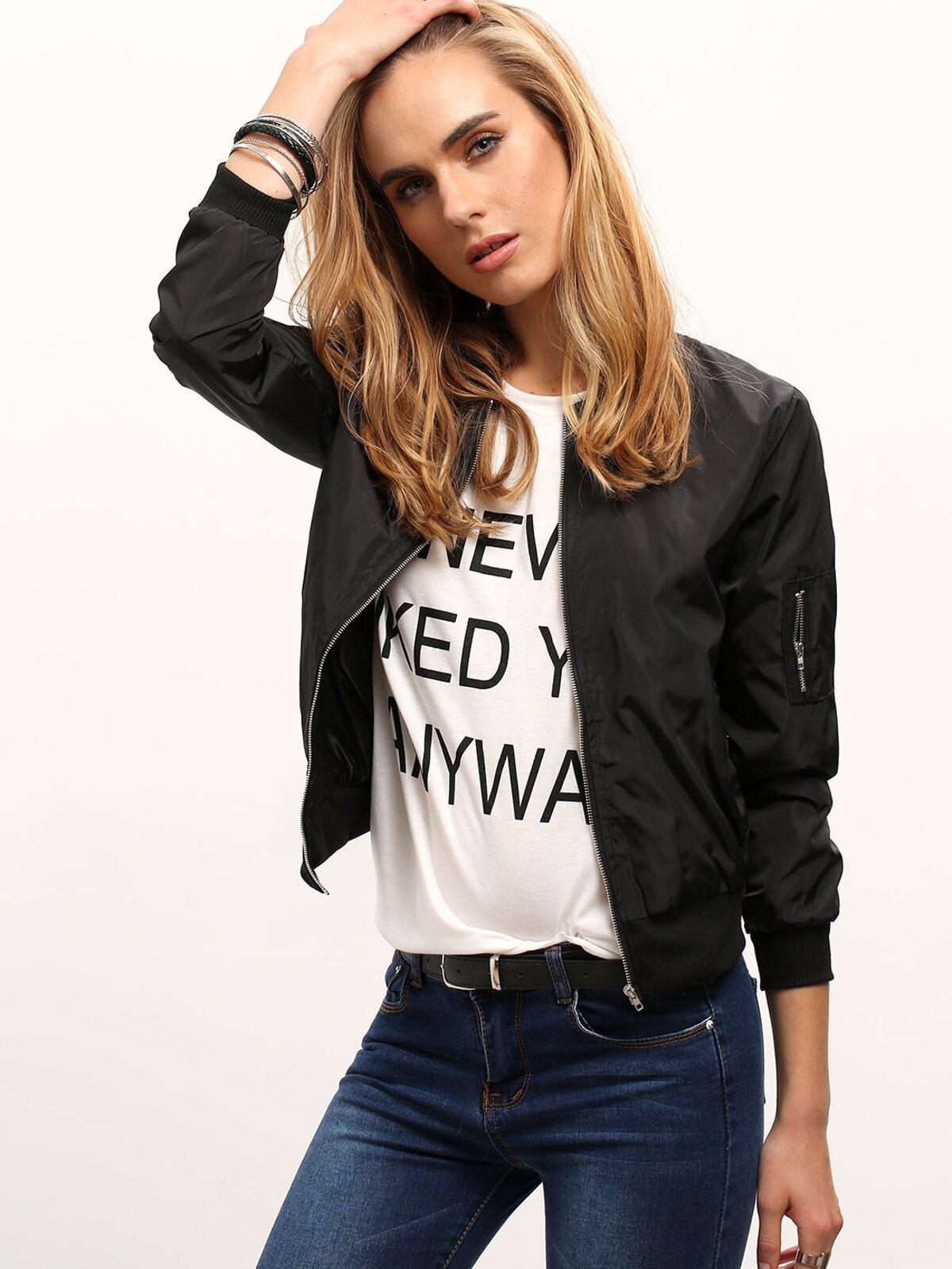 黑色 立領 拉鏈 短版 外套