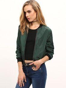 Green Stand Collar Zipper Crop Jacket
