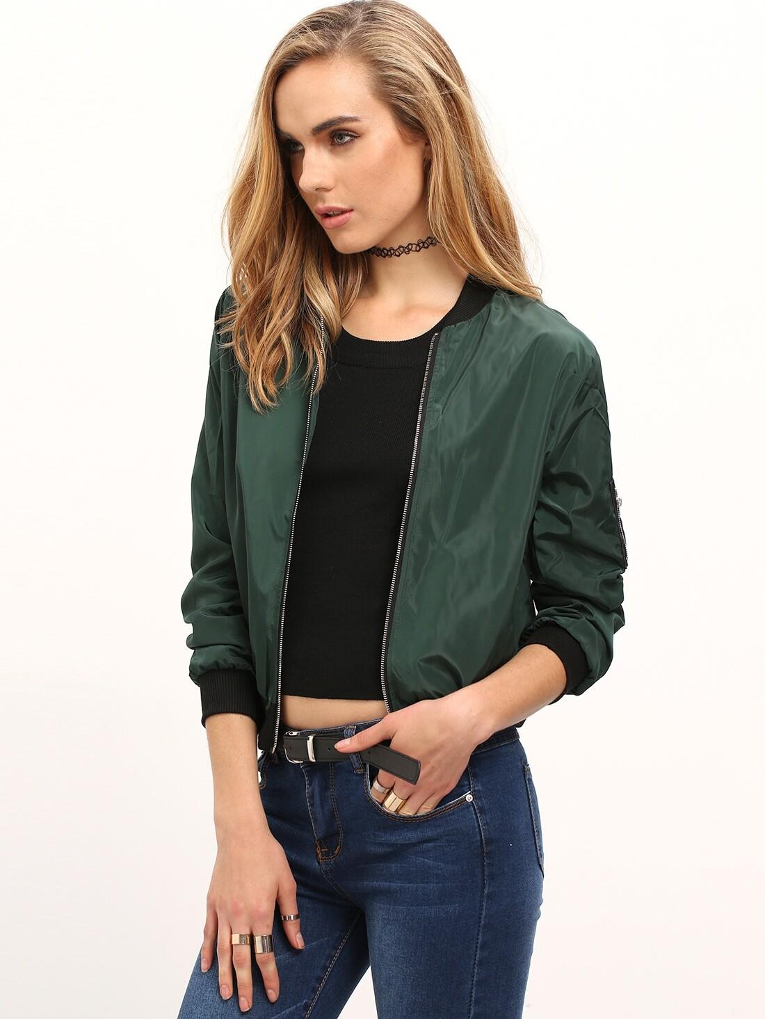 Зеленый Стенд Воротник Молния Короткая Куртка