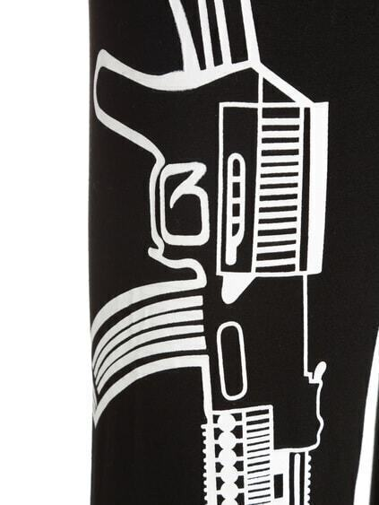 Black Slim Gun Print Leggings