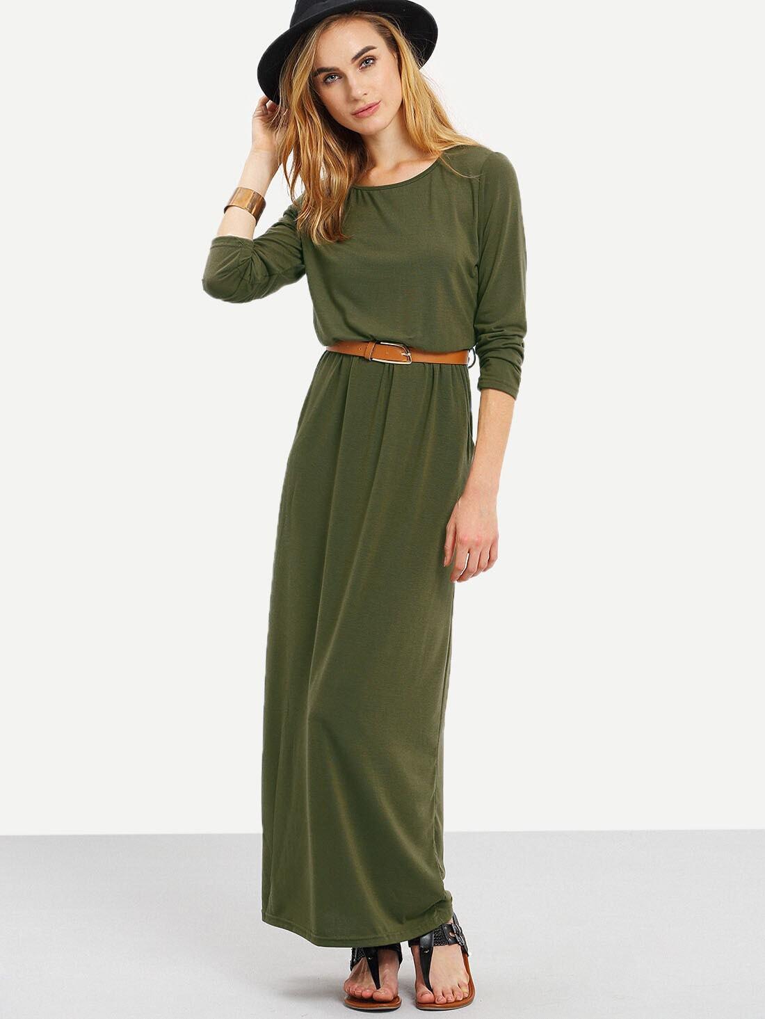 Army Green Long Sleeve Pockets Maxi Dress - $14.36
