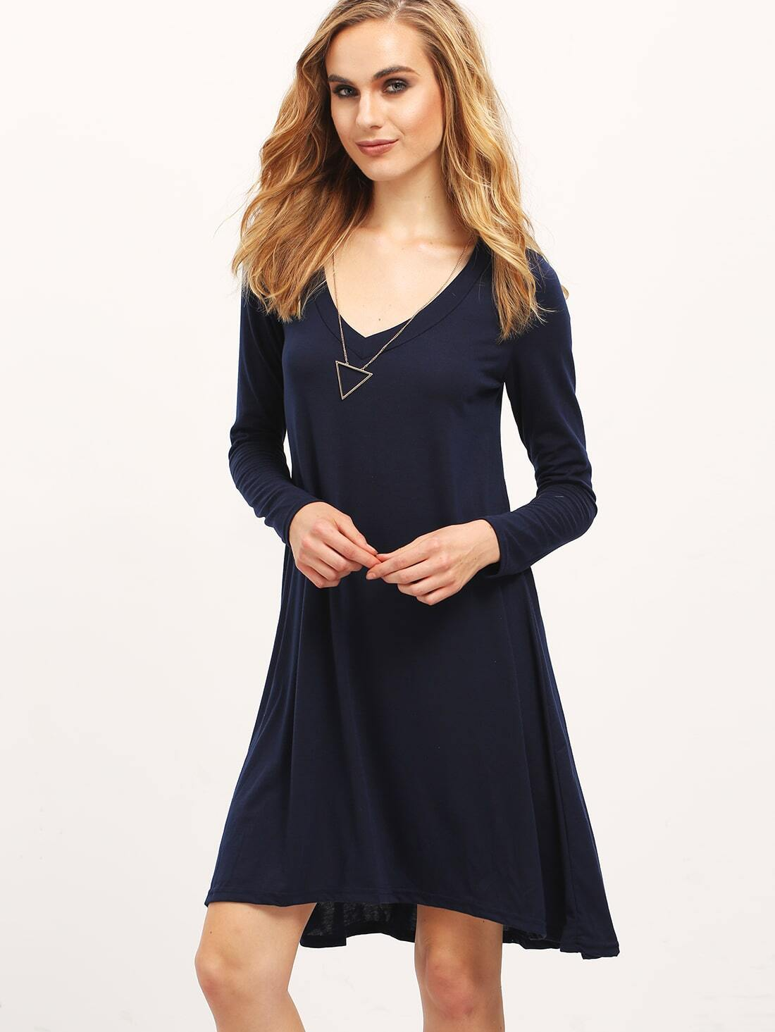 robe en jersey col v manches longues bleu marine french romwe With robe manche courte col v