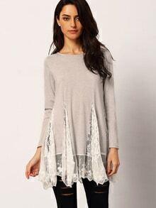 Grey Round Neck Long Sleeve Lace Dress