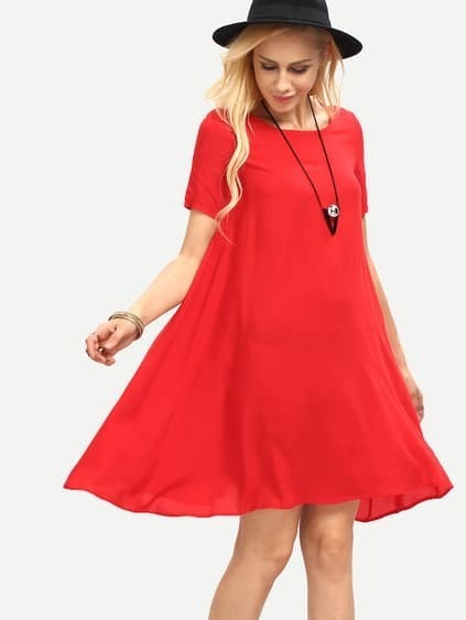 Red Round Neck Short Sleeve Loose Dress