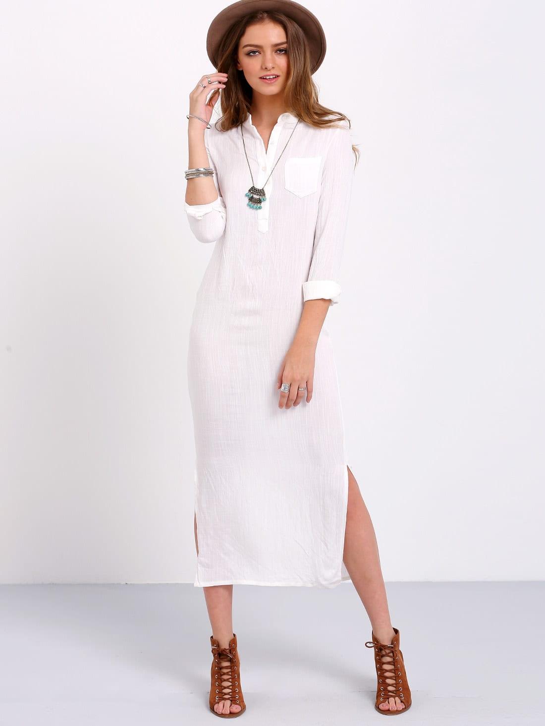 Белый Длинный Рукав Макси Платье