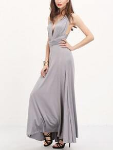 Vestido cuello V maxi -gris