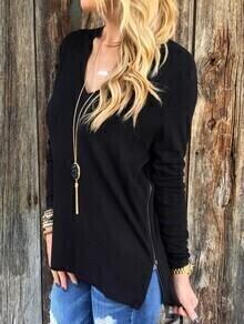 Black Side Zipper Long Sleeve T-shirt