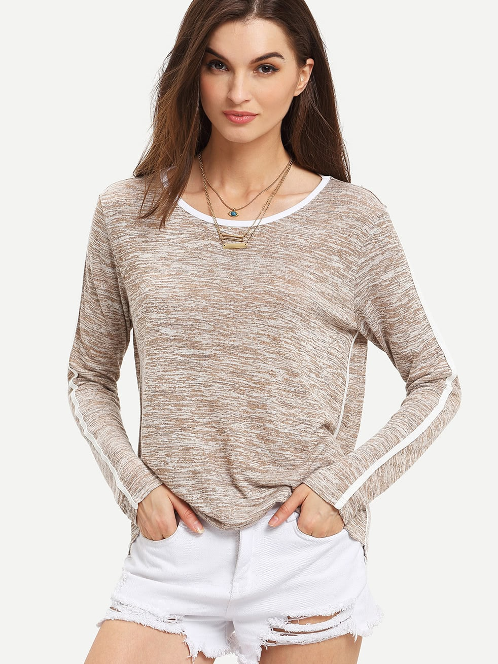 Grey Round Neck Long Sleeve Loose T Shirt