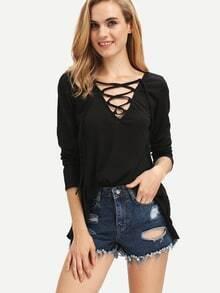 Black V Neck Lace Up Loose T-Shirt