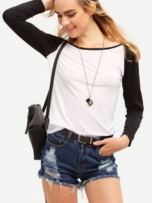 T-Shirt color block manche longue amincissant