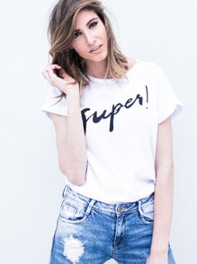 White Short Sleeve Letters Print Loose T-Shirt